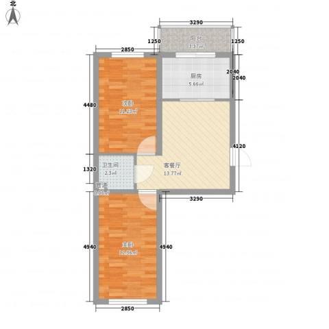 风华新苑2室1厅1卫1厨70.00㎡户型图