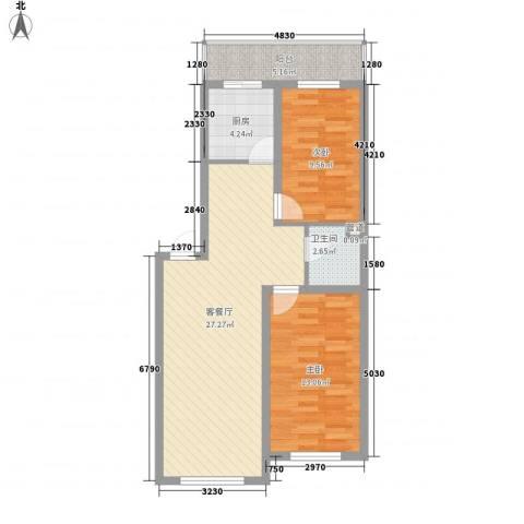 风华新苑2室1厅1卫1厨88.00㎡户型图