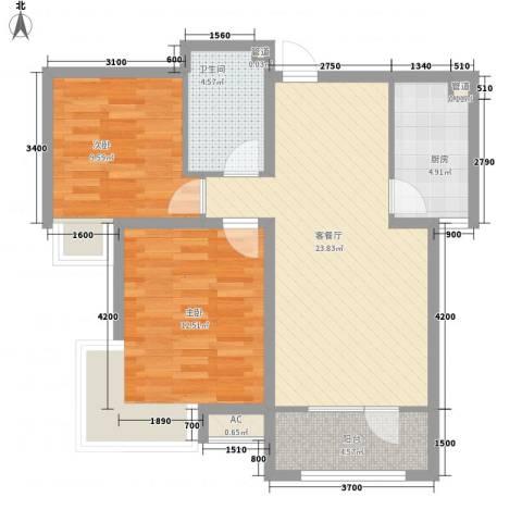 融和嘉苑2室1厅1卫1厨87.00㎡户型图