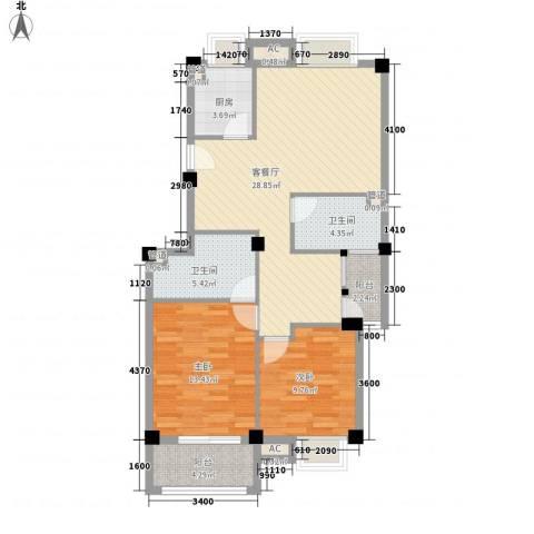 东源北院2室1厅2卫1厨92.00㎡户型图