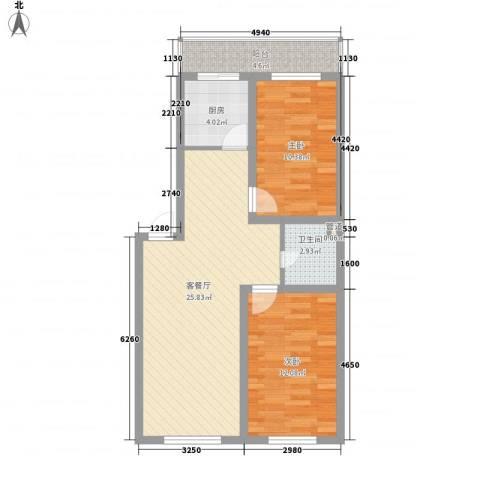 风华新苑2室1厅1卫1厨87.00㎡户型图