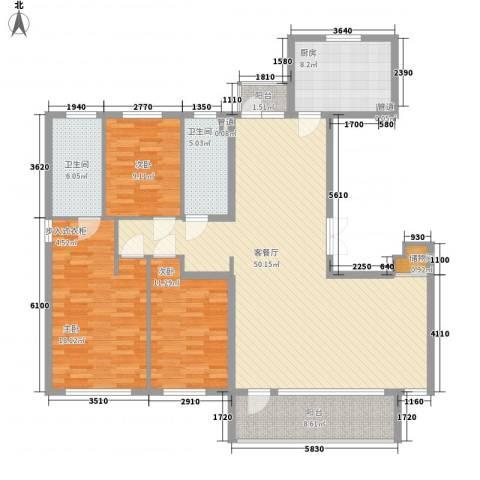「大连天地」悦龙居3室1厅2卫1厨167.00㎡户型图