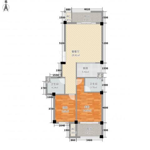 东源北院2室1厅2卫1厨89.00㎡户型图