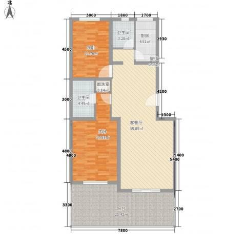 融和嘉苑2室1厅2卫1厨140.00㎡户型图