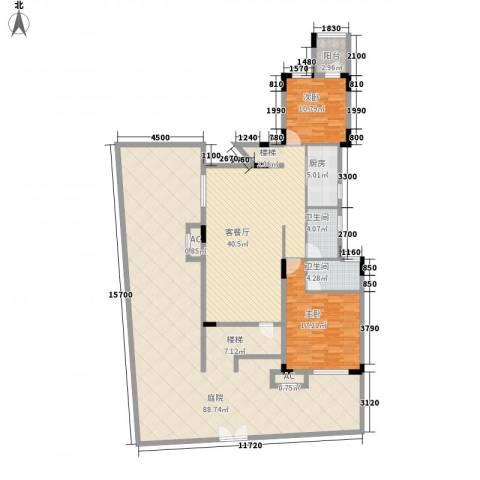 保利林语2室1厅2卫1厨244.00㎡户型图
