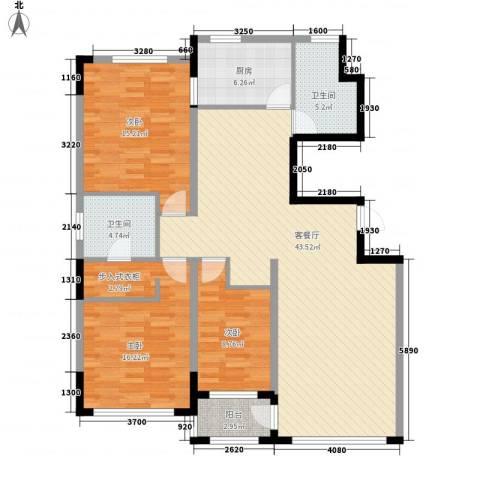 亚泰梧桐公馆3室1厅2卫1厨130.00㎡户型图