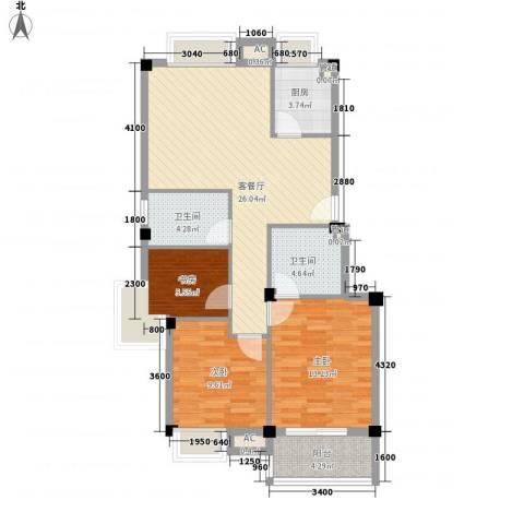东源北院3室1厅2卫1厨92.00㎡户型图