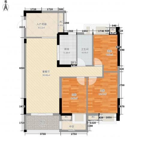 九溪江南3室1厅1卫1厨129.00㎡户型图