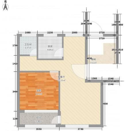 青浦珠光苑1室1厅1卫1厨66.00㎡户型图