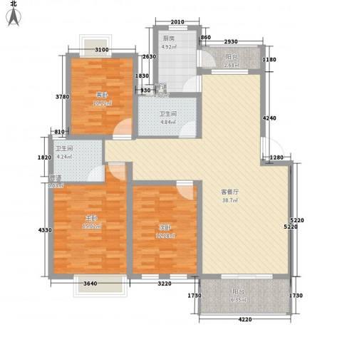 万科北区3室1厅2卫1厨99.17㎡户型图