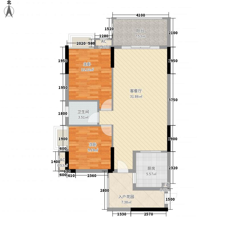 北京路1号93.59㎡2单元1号房户型2室2厅1卫1厨