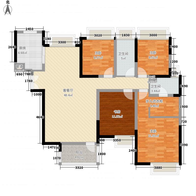 成都华侨城纯水岸146.00㎡二期H户型3室2厅2卫1厨