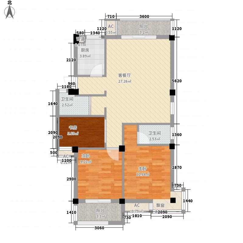 南国金辉104.27㎡南国金辉户型图3室2厅2卫1厨户型10室