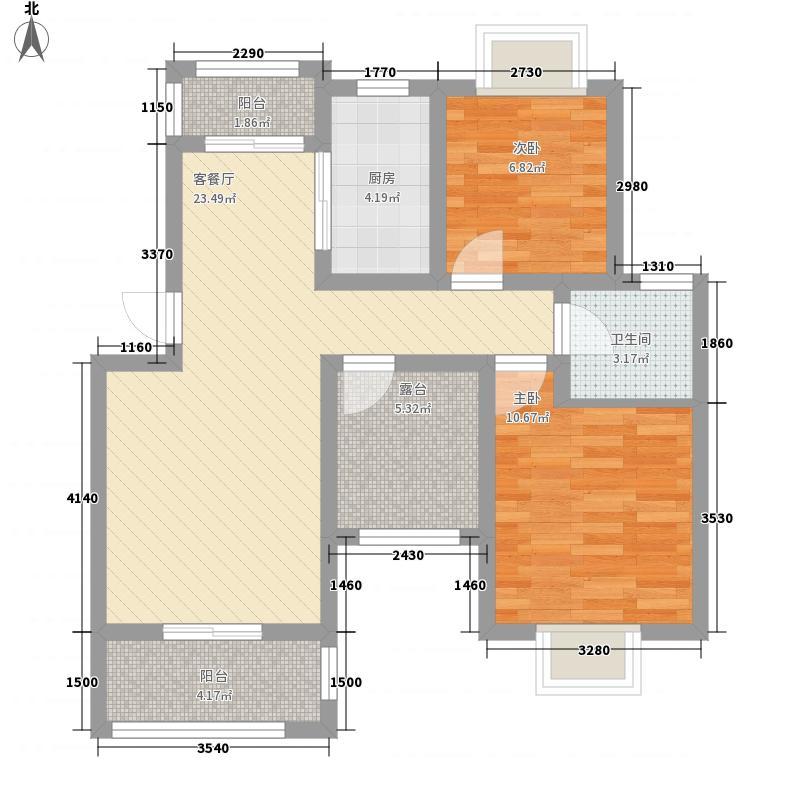 尚成府邸89.00㎡2房户型2室2厅1卫1厨