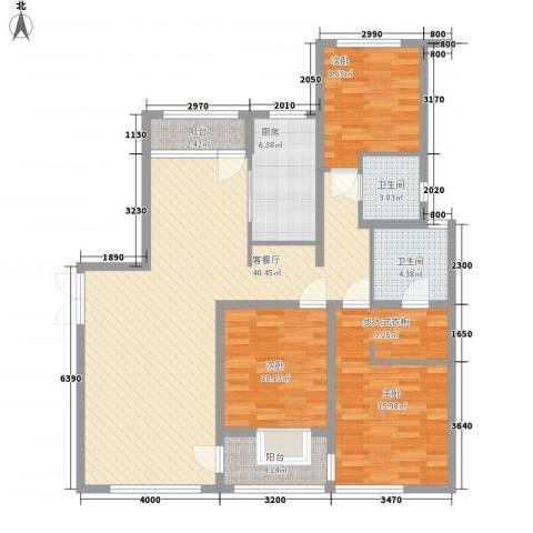 大唐盛世花园3室1厅2卫1厨138.00㎡户型图