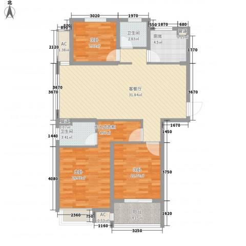锦海星城二期锦海尚城3室1厅2卫1厨120.00㎡户型图