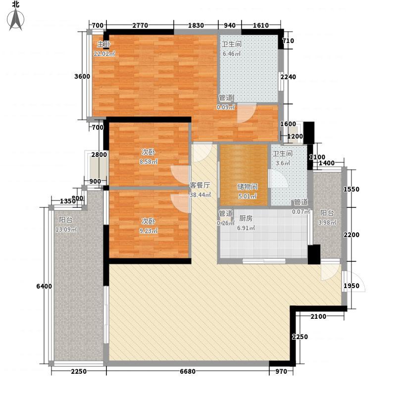 万科金域西岭130.00㎡B1型户型3室2厅2卫1厨