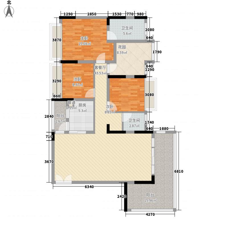 成都华侨城纯水岸134.00㎡二期C6(奇数层)户型3室2厅2卫1厨