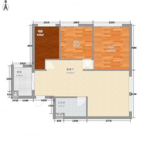 蜂巢3室1厅1卫1厨86.00㎡户型图