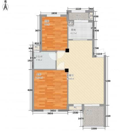 秀州咖尔花园2室1厅1卫1厨89.00㎡户型图