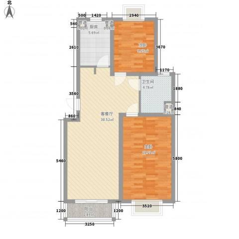 小上海新城三期2室1厅1卫1厨103.00㎡户型图