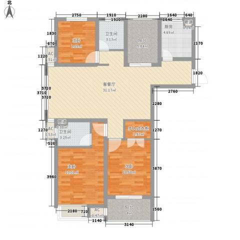 锦海星城二期锦海尚城3室1厅2卫1厨126.00㎡户型图