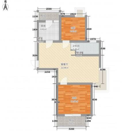 小上海新城三期2室1厅1卫1厨79.00㎡户型图