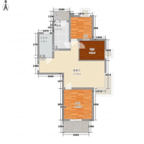 小上海新城三期3室1厅1卫1厨104.00㎡户型图