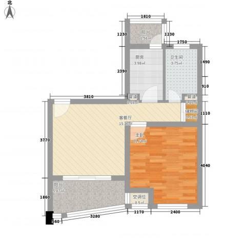 荣域飘鹰锦和花园1室1厅1卫1厨63.00㎡户型图