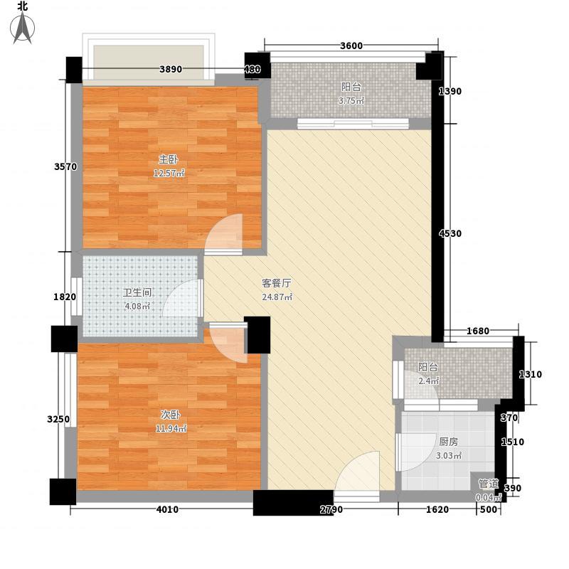 兴元绿洲78.54㎡E4型户型2室2厅1卫1厨