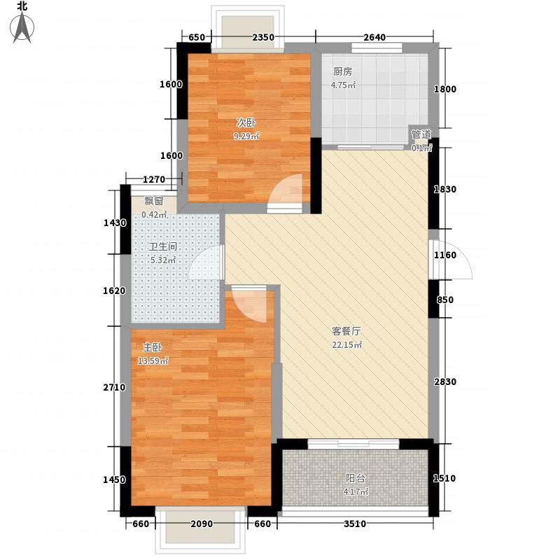 三盛颐景园82.62㎡二期C户型2室2厅1卫1厨