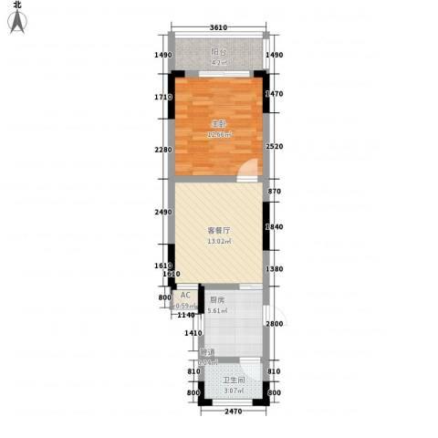 东方塞纳1室1厅1卫1厨61.00㎡户型图