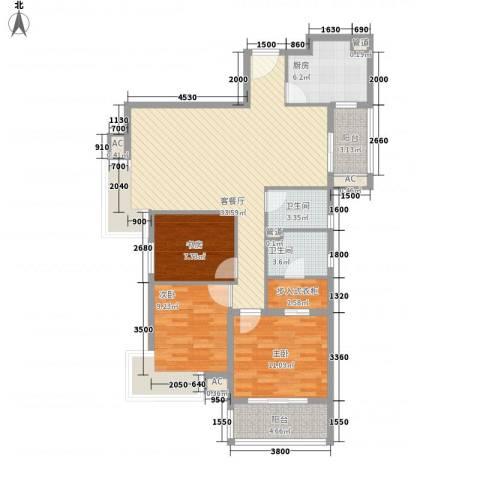 汉口春天3室1厅2卫1厨124.00㎡户型图
