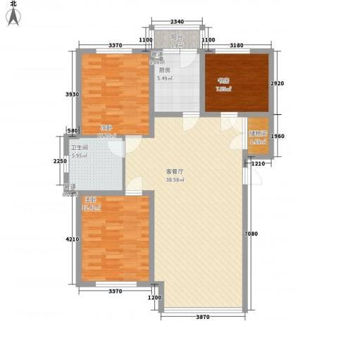 田园牧歌3室1厅1卫1厨106.00㎡户型图