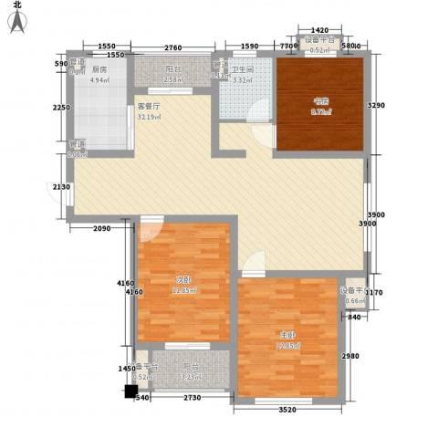 城置御水华庭3室1厅1卫1厨118.00㎡户型图