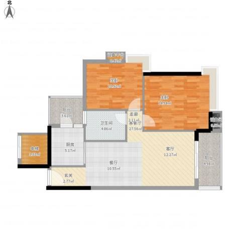 岭南雅苑2室1厅1卫1厨107.00㎡户型图