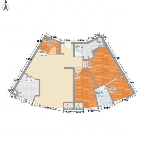 月半湾2室1厅2卫1厨107.00㎡户型图