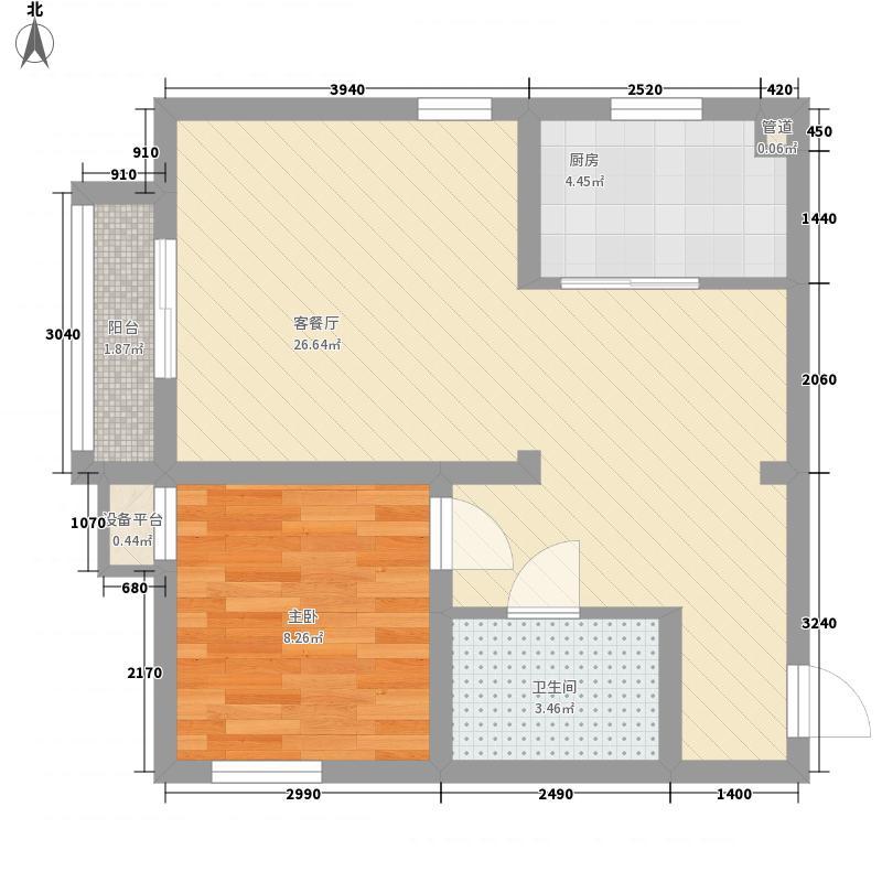优品名筑65.27㎡8户型1室2厅1卫1厨
