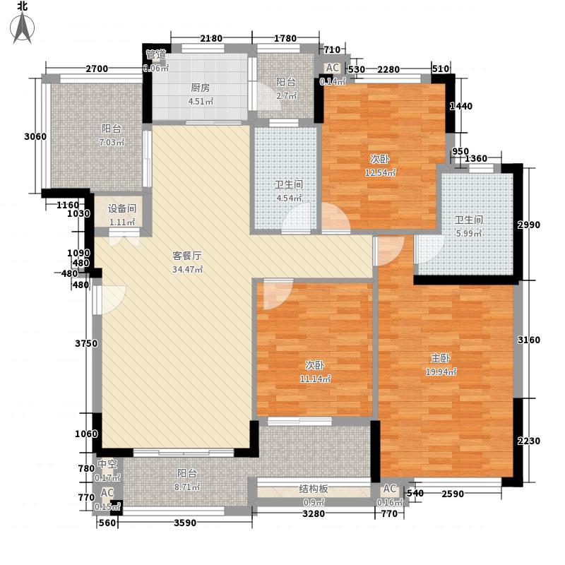 富力红树湾120.00㎡富力红树湾户型图C-06区洋房B户型平面图3室2厅2卫户型3室2厅2卫