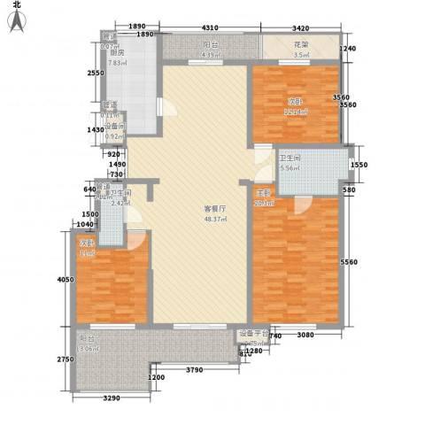 华远海蓝城3室1厅2卫1厨184.00㎡户型图