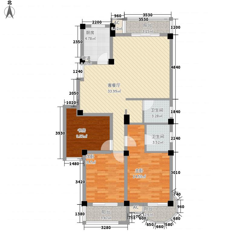 南国金辉132.65㎡南国金辉户型图3室2厅2卫1厨户型10室