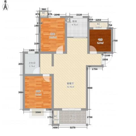 城市印象3室1厅1卫1厨102.00㎡户型图
