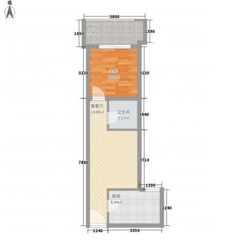 金色城市1室1厅1卫1厨56.00㎡户型图