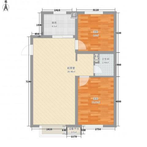 万科城2室0厅1卫1厨76.00㎡户型图