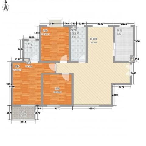 世融嘉城3室0厅2卫1厨133.00㎡户型图