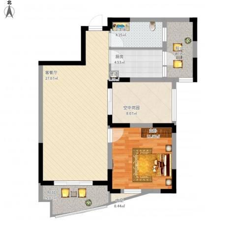 广信百度城1室1厅1卫1厨96.00㎡户型图