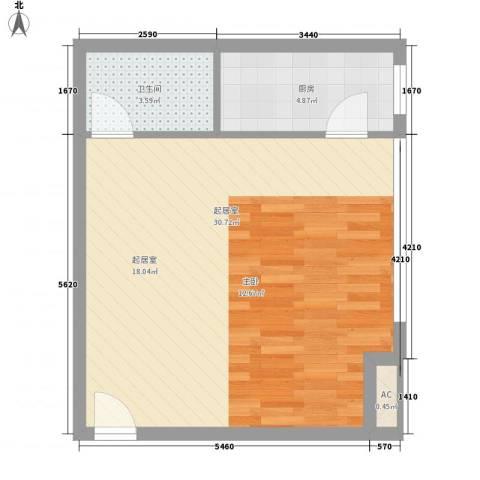 博鳌左岸1卫1厨54.00㎡户型图