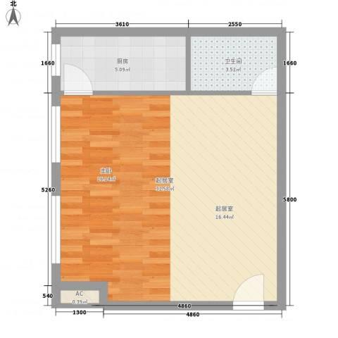 博鳌左岸1卫1厨58.00㎡户型图