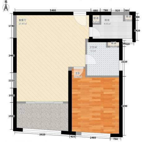 香梅花园五期1室1厅1卫1厨82.00㎡户型图