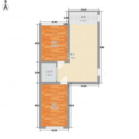 香槟小镇2室1厅1卫0厨80.00㎡户型图
